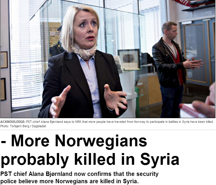 norway worried about surviving jihadis making it back to norway from syria 30.5.2013