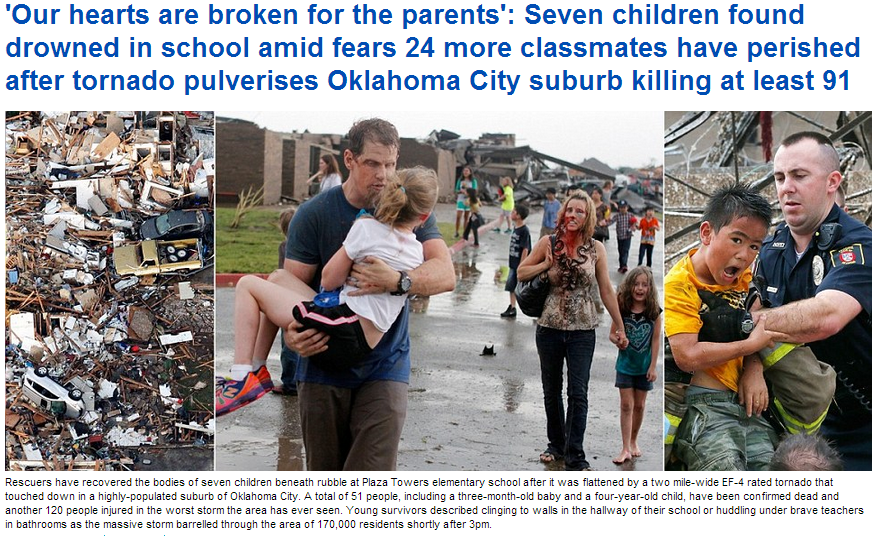 oklahoma twister hits leaving 51 dead, scores were children 21.5.2013