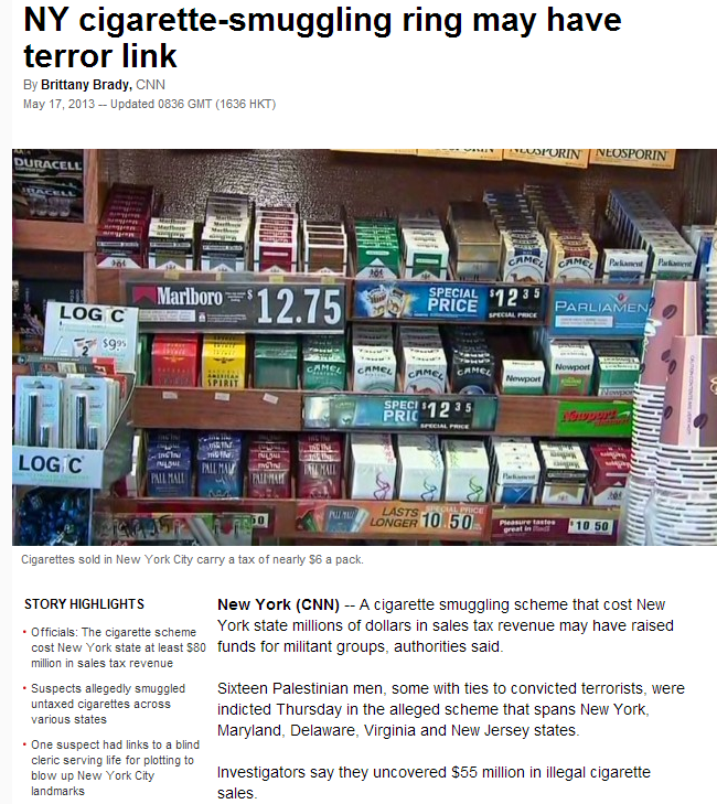 palestinian cigarette terror scam busted in NYC 17.5.2013