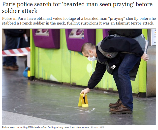 paris looks for bearded man parying minutes before attack on soldier 28.5.2013