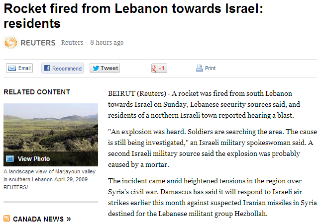 rocket fired from lebanon to israel 27.5.2013