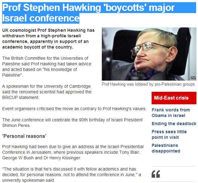 steven hawking refuses to attend conference in israel 8.5.2013