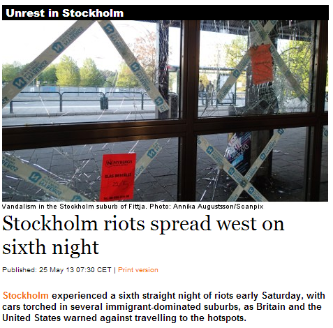 stockholm riots spread sixth night 25.5.2013