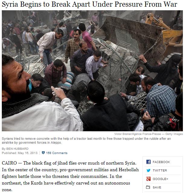 syria breaks apart 18.5.2013