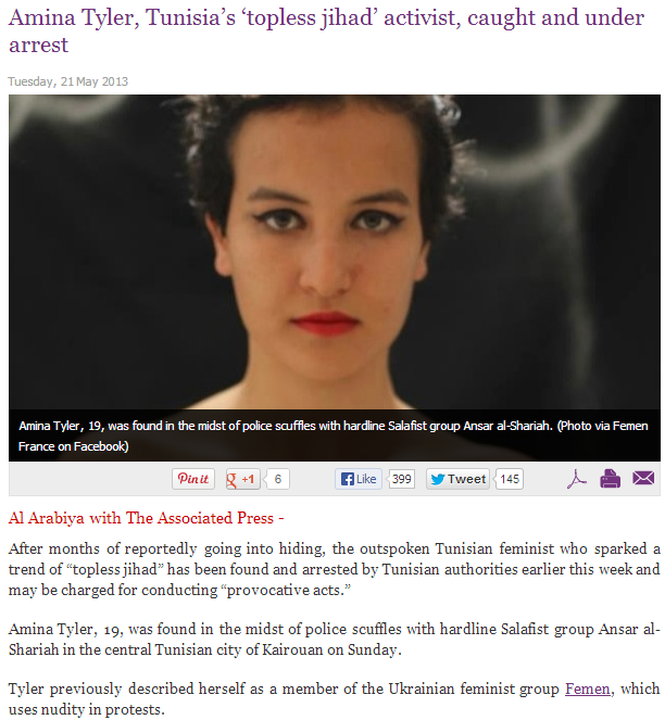 tunisian topless feminest arrested Amina Tyler 22.5.2013