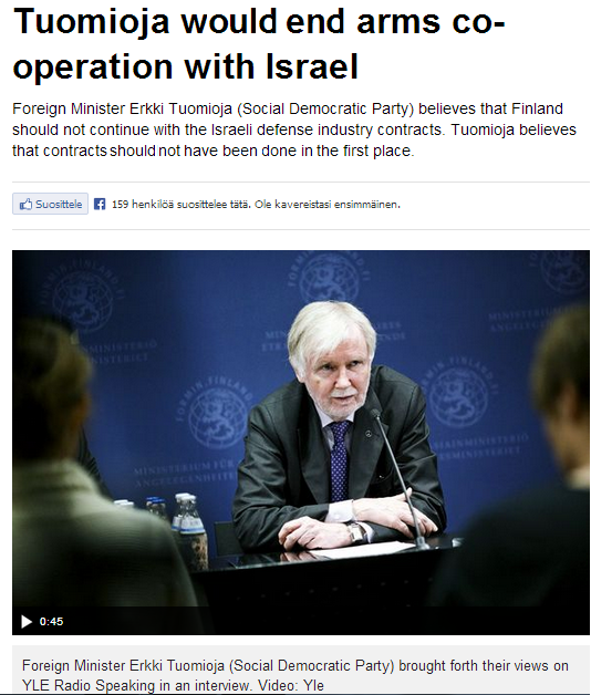 tuomioja would terminaste arms agreements with Israel 13.5.2013