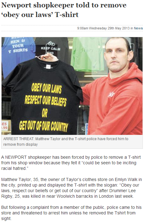 uk police force shop owner to remove truthful t-shirt slogan from window 31.5.2013