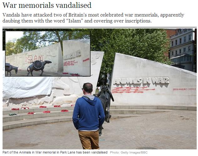 uk war memorials vandalized by islamic nutjobs 28.5.2013