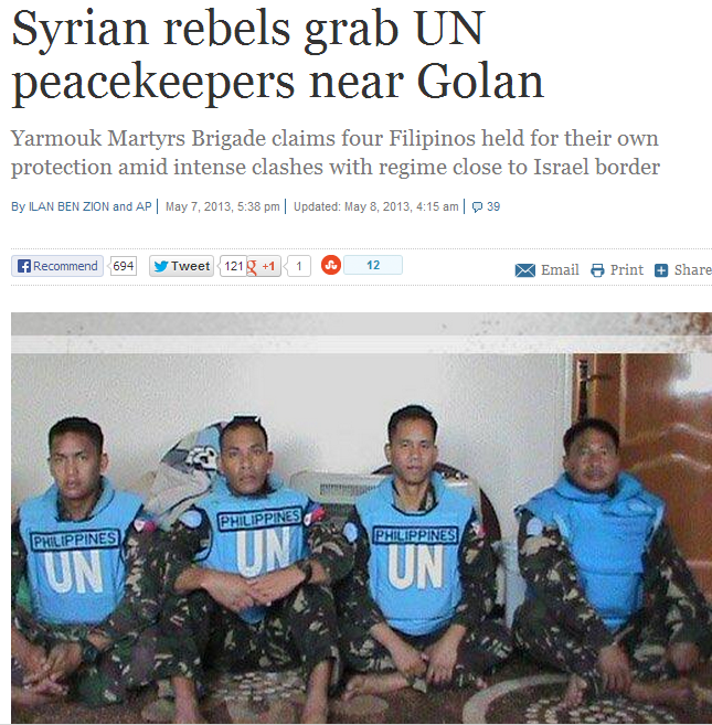 un peacekeepers abducted by syrian rebels 8.5.2013