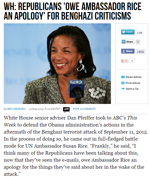 wh says gop should apologize to rice 20.5.2013
