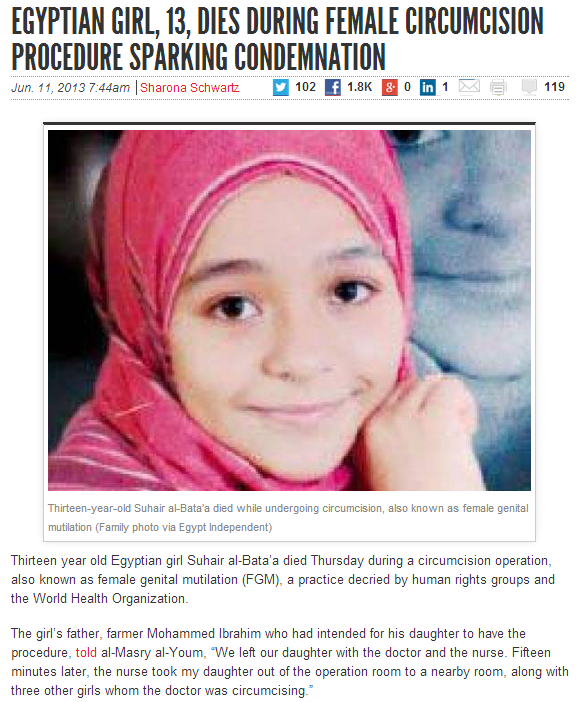 13 yr old girl dies from fgm in egypt 12.6.2013