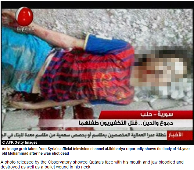 14 year old shot dead by al-qaida group in syria 11.6.2013