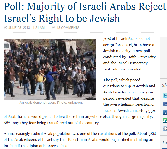 ARABS IN ISRAEL REJECT JEWISH STATE 26.6.2013