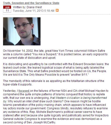 Diana West on Snowden 13.6.2013
