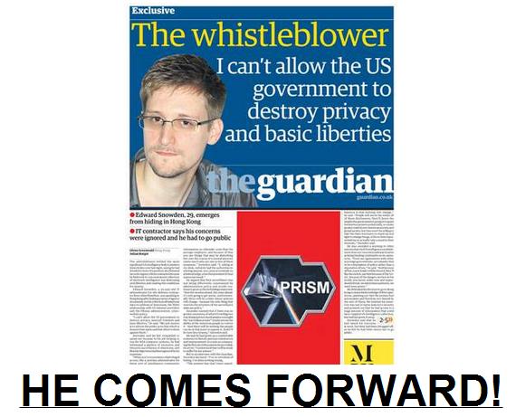 NSA Whistleblower comes forward 10.6.2013