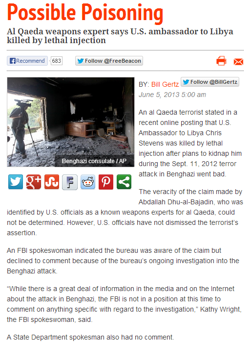 POSSIBLE POISONING IN BENGHAZI ATTACK 5.6.2013