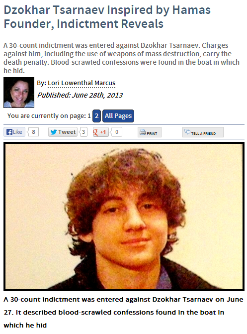 TSARNAEV INSPIRED BY HAMAS 28.6.2013