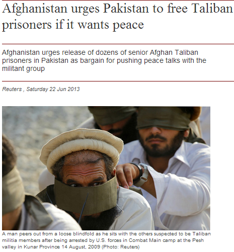 afghanistan urges pakistan to release tali prisoners for peace 22.6.2013