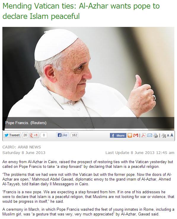 al-azhar wants pope to declare islam peaceful 10.6.2013