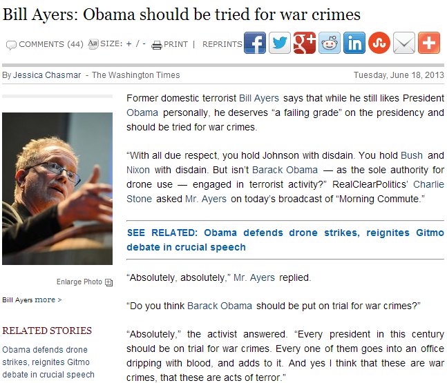 ayers turns on obama calls him a terrorist to be charged with war crimes 19.6.2013