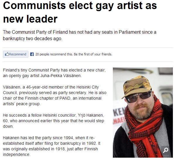finnish communists elect gay artist 10.6.2013