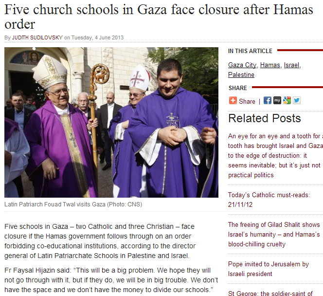 hamas orders church schools to segregate the sexes 5.6.2013