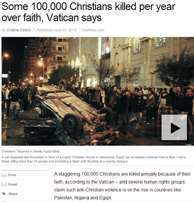 hundred thousand christians killed annually for their faith 3.6.2013