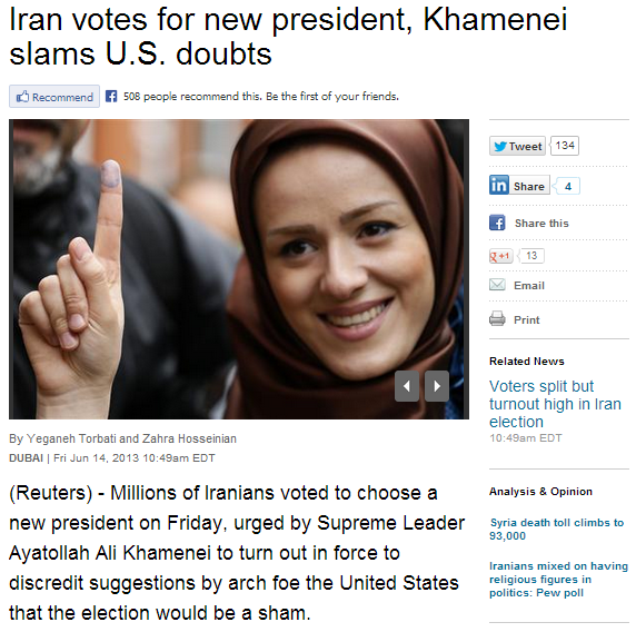 iranian election sham 14.6.2013