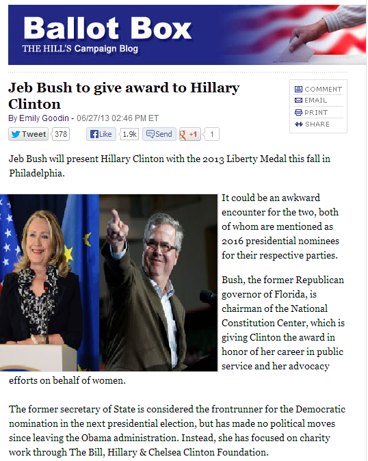 jeb bush hillray medal 28.6.2013