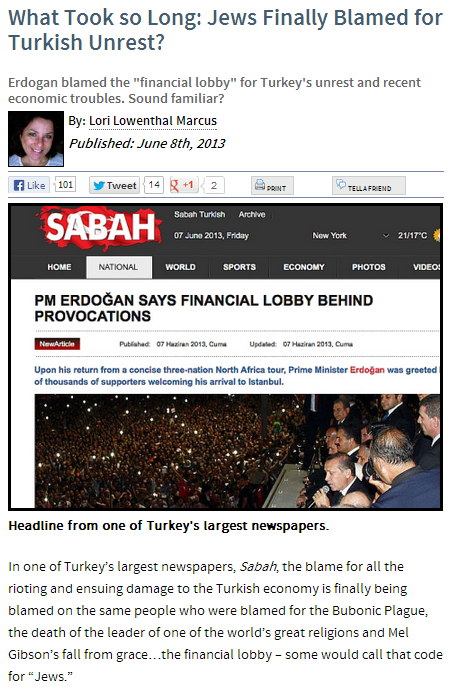 jews blamed for woes in turkey and elsewhere 8.6.2013