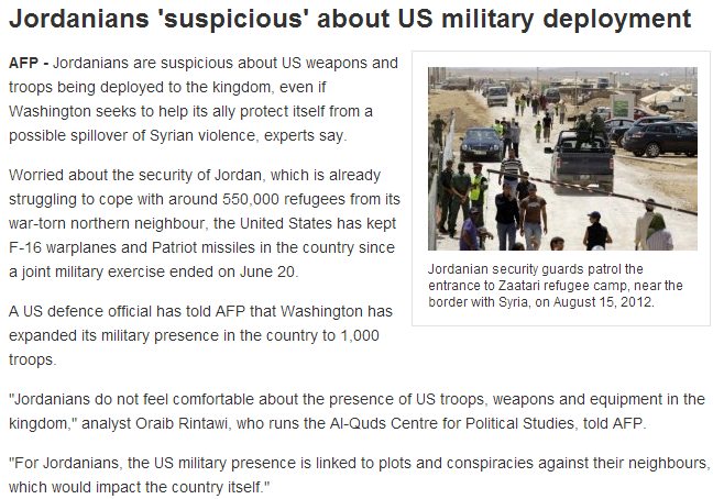 jordanians suspicisios of us troops in country 29.6.2013