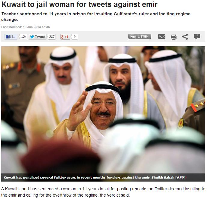 kuwait woman faces jail over anti-emir tweets 11.6.2013