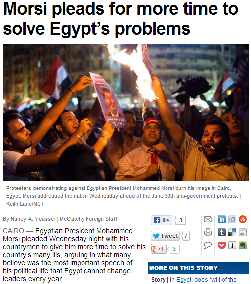 morsi pleads for more time to solve countrys problems 27.6.2013