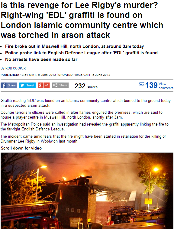 mosque torched edl suspected 5.6.2013