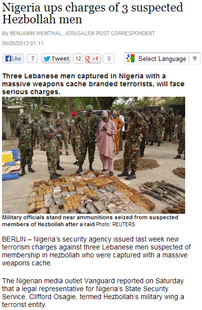 nigeria charges three heznazis for terrorism 26.6.2013