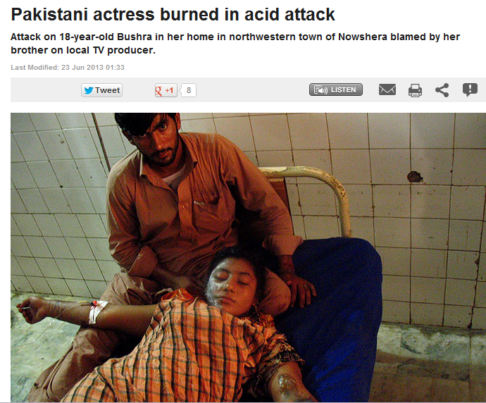 pakistani actress burned with acid 24.6.2013