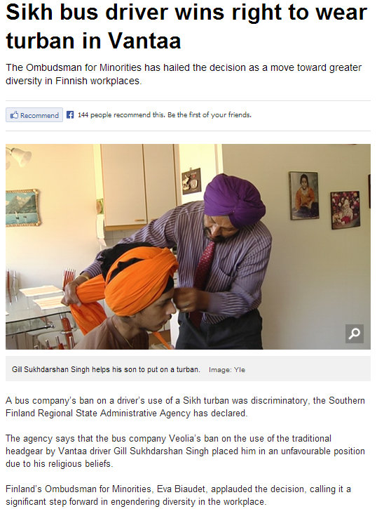 sikh headgear ban overturned by finnish administrative agency 28.6.2013