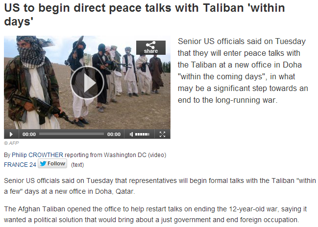 taliban peace talks within days 19.6.2013