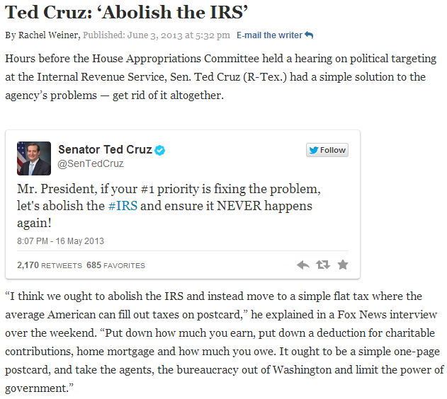 ted cruz end the irs 5.6.2013