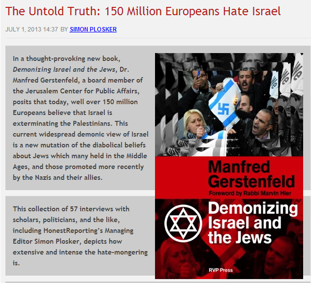 150 million Europeans hate Israel 2.7.2013