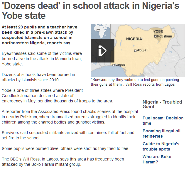 30 students dead by boko haram 6.7.2013
