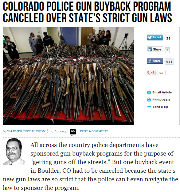 COLORADO GUN LAWS TOO STRICT FORCING POLICE TO CANCEL GUN BUY BACK PROGRAM 28.7.2013