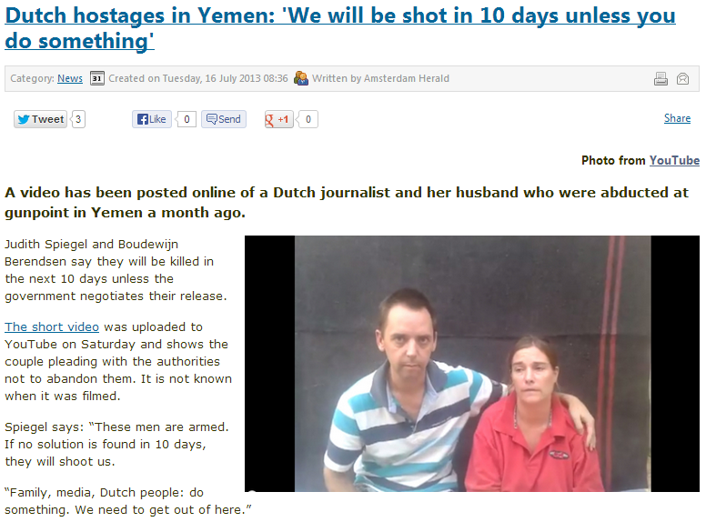 KIDNAPPED DUTCH JOURNALIST AND WIFE WILL BE SHOT IN A WEEK IN YEMEN