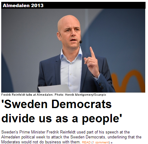 Sweden pm says sd divides us a people 4.7.2013
