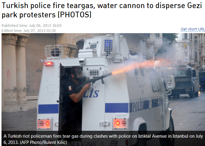 TURKS FIRE TEARGAS AND WATER CANNON ON PARK DEMONSTRATORS 7.7.2013