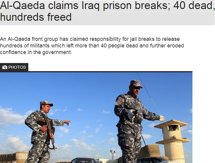 al qaida claims hudreds freed in prison break 40 dead 24.7.2013
