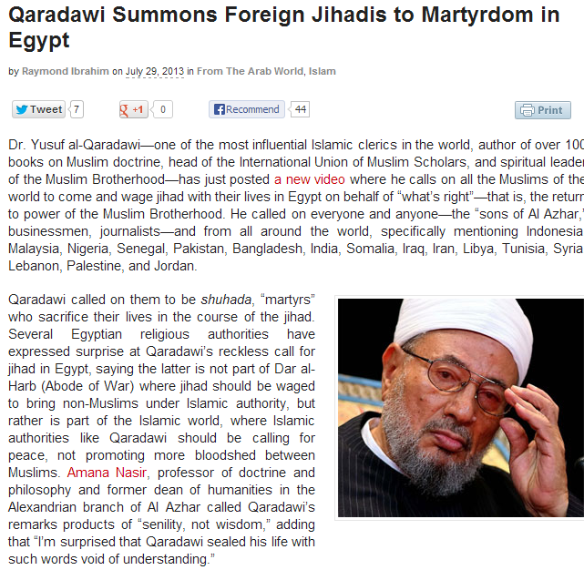 al qaradawi calls for jihad in egypt 30.7.2013
