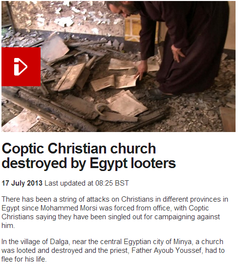 coptic church in egypt destroyed priest escapes with his life 18.7.2013