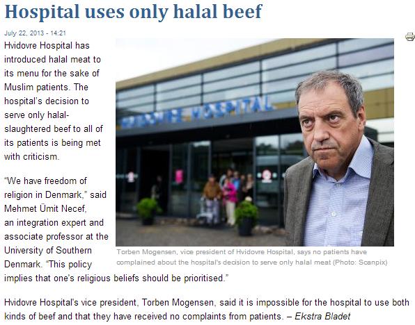 danish hospital uses hala only meat 29.7.2013