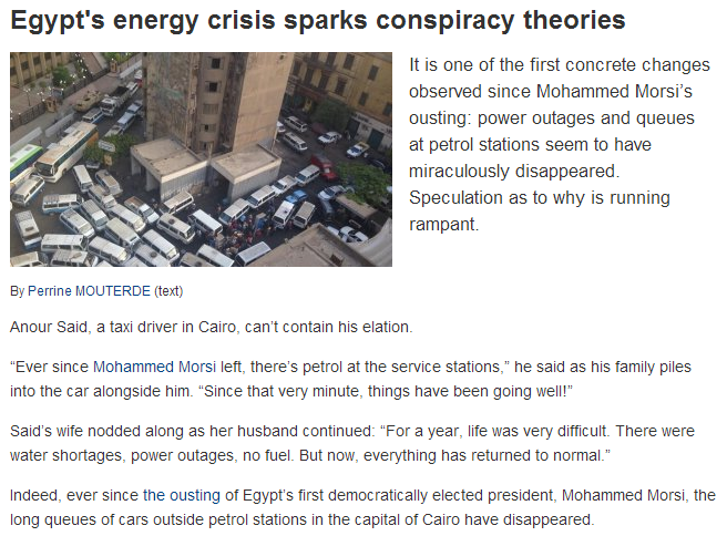 egyptian fuel returns, conspiracy theories abound 14.7.2013